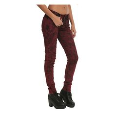 LOVEsick Red Acid Wash Skinny Jeans Hot Topic ($10) ❤ liked on Polyvore featuring jeans, red skinny leg jeans, denim skinny jeans, cut skinny jeans, skinny fit jeans and acid wash jeans