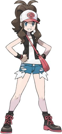 Hilda - Pokemon BW Pokemon cap, white vest, body warmer/sleeveless cardigan, rough cut shorts, arm warmers, poketech watch, satchel, boots.