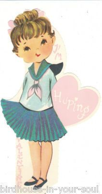 Vintage Valentine Card Girl in Sailor Dress Huping Unused Die Cut for Children | eBay