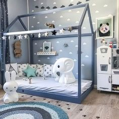 How cute is this kid's room! Miffy lamp available online.