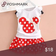 Girls 2pc Minnie Mouse shirt and skirt set Adorable girls red Minnie Mouse shirt and skirt set Matching Sets