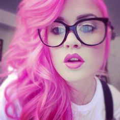 Bright Pink Dyed Hair Lips and Glasses