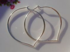 1 pair 38x37mm Sterling Silver Longevity Peach Heart by TerraFinds, $9.80