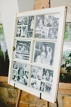 What a clever idea!  photographs in an old window