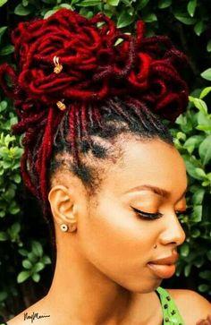 rouges nuances coiffure black coloration dreads rouges locs de cheveux teamlocs naturalhair locs naturelles color cheveux naturels - Coloration Locks
