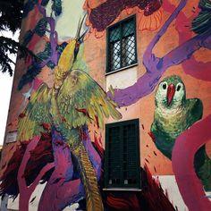 Hitnes at San Basilio, Rome, Italy. Street Art, Mural.