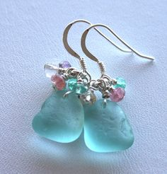 Sea glass jewelry from this Etsy shop (OceanCharmsSeaGlass). I like these specific earrings but I like most everything from this shop (earrings, necklaces, bracelets). I <3 sea glass.