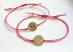 Monogram, Gold Heart Bracelet, Red String Bracelet, Friendship, Initials, Letters, Charm, Personalized, Adjustable, Handmade Jewelry
