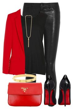 """""""Sem título #417"""" by cecebay ❤ liked on Polyvore featuring J Brand, Topshop, Preen, Yves Saint Laurent, Prada, Christian Louboutin and Cartier"""