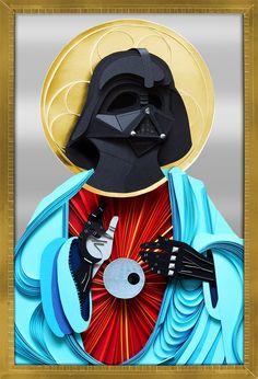 Cool 3d paper craft Darth Vader Star Wars collage illustration Lobulo design paper