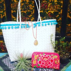 Summer adventure ready with the Playa pompom tote, Guirlanda necklace and Hmong double-zip wristlet 🌴🌴🌴 Straw Bag, Adventure, Zip, Instagram, Summer, Accessories, Garland, Birds, Summer Time