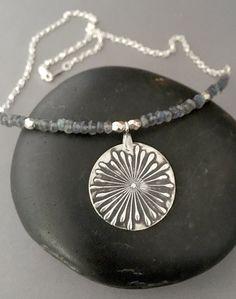 Silver Sun Necklace Metal Clay Jewelry by AriesArtisticJewelry