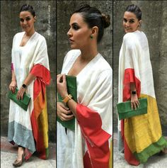 Neha Dhupia wearing white printed cape dress by Payal Khandwala