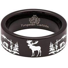 Black Tungsten Carbide Silhouette Moose Scenery Animal Inspired Rings for Men and Women