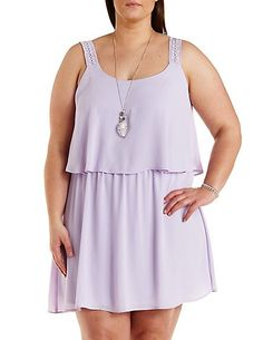 Plus Size Crochet Strap Layered Dress #CharlotteRussePlus #Charlotte0to24 #Plus