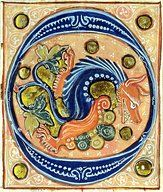 Title: Historiated initial 'O' depicting a griffin   Creator(s): French School