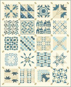 New Sew Along with a quilt i fell in love with! Join Pat Sloan to make a Christmas Fig quilt in Classic Red/green or this blue cream Sampler Quilts, Scrappy Quilts, Amish Quilts, Antique Quilts, Vintage Quilts, Quilt Block Patterns, Quilt Blocks, Quilting Projects, Quilting Designs