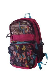 Girls Pink Teal Peace Sign Butterfly Floral School Bag Backpack Lunch Box