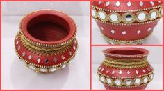 How to Decorate Pot at home I Matki decoration I Indian Festival I Creative Diaries Hope you all enjoyed this video Show your love by like and subscribing my. Kalash Decoration, Thali Decoration Ideas, Diary Decoration, Diy Diwali Decorations, Diy Wedding Decorations, Decor Ideas, Diy Centerpieces, Diwali Diy, Diwali Craft