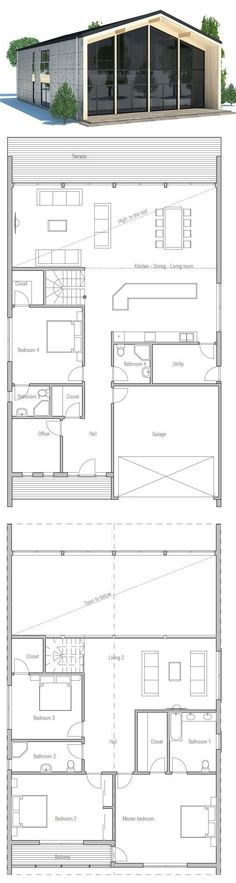 Contemporry House to narrow lot. Modern Architecture. Floor Plan from ConceptHome.com
