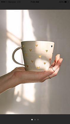 gold heart mug by picklepottery on Etsy