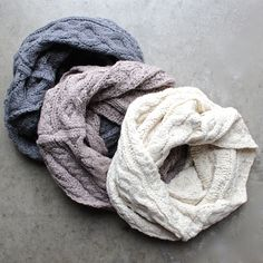 cozy cable knit infinity scarf - 3 colors - shophearts