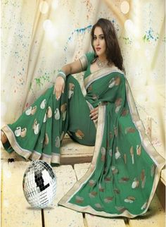 Luscious Green color Printed #Saree With Zari Work #designersarees #clothing #womenswear #womenapparel #ethnicwear