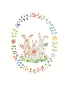 """Little Rabbit March's Family"" −RiLi, picture book, illustration, design ___ ""子うさぎマーチの家族"" −リリ, 絵本, イラスト, デザイン ...... #illustration #rabbit #apple #イラスト #うさぎ #りんご"