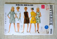 4818 Butterick винтажный выкройка платье Бюст 1960-х 1968 38 мод секретаря шов…