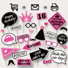 Sweet 16 Photo Booth Printable Props - Printable Sweet Sixteen Photobooth - 16th…                                                                                                                                                                                 Más