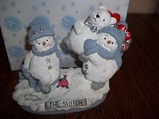 2000 Encore Snow Buddies Snowman Figurine #94601 THE SUITOR NIB