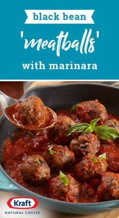 Bean 'Meatballs' with Marinara – Mash up black beans to create delicious black bean 'meatballs' minus the meat. This vegetarian-friendly recipe is the perfect pair to pasta on your dinner table. Bean Recipes, Veggie Recipes, Whole Food Recipes, Cooking Recipes, Recipes Dinner, Dinner Ideas, Vegetarian Dinners, Vegetarian Recipes, Healthy Recipes