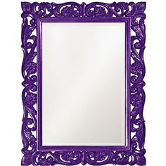 "Howard Elliott Chateau 31"" x 41"" Royal Purple Wall Mirror (425 CAD) ❤ liked on Polyvore featuring home, home decor, mirrors, frames, decor, purple, backgrounds, borders, picture frame and scroll mirror"