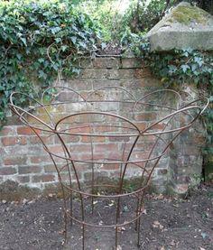 "Rose Baskets (see photo left) ""Leander Plant Supports"" Garden Basket, Garden Pots, Garden Crafts, Garden Projects, Peony Support, Rose Basket, Garden Structures, Outdoor Structures, Garden Trellis"