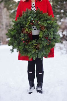 Classic wreath | snow, Christmas