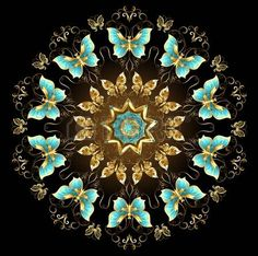 Golden mandala and turquoise butterflies on a black background. Design with butterflies. Golden butterfly. Mandala of gold photo