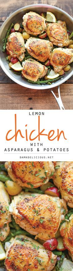 Lemon Chicken with Asparagus and Potatoes - Crisp-tender chicken baked to absolute perfection. It's truly an entire meal in a single skillet!
