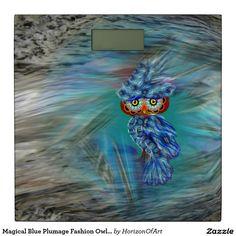 Magical Blue Plumage Fashion Owl Bathroom Scale