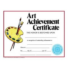 retro art achievement certificate 30pack downloadable templates available to personalize or can be handwritten - Art Award Certificate Template