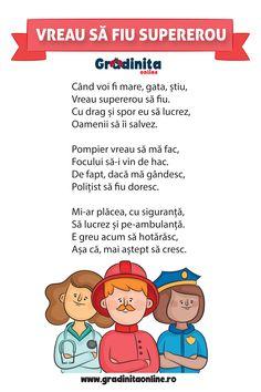 """Poezia """"Vreau să fiu supererou"""", este scrisă de Violina Pălălău pentru Grădinița Online. Dacă cauți activități pentru copii 3-6 ani te invităm pe site-ul nostru. Comics, Kids, Baby, Firefighter, Young Children, Boys, Children, Cartoons, Baby Humor"""