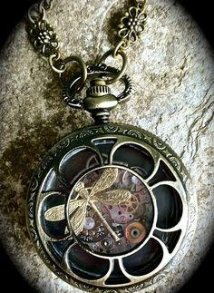 """steampunk"" dragonfly locket  twochixdesign.etsy.com"