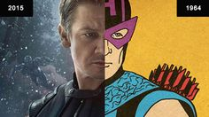 Interactive side by side photos of The Avengers comic book characters and their current film portrayals.