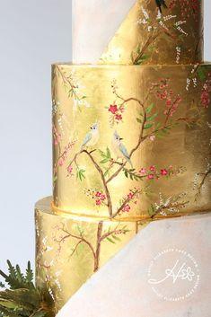 Sugar Flowers by Hayley Elizabeth Cake Design - Painted Gold leaf wedding cake, detailed wedding cake, luxury wedding cake, elegant wedding cakes, - Luxury Wedding Cake, Black Wedding Cakes, Fall Wedding Cakes, Elegant Wedding Cakes, Elegant Cakes, Wedding Cake Designs, Wedding Cupcakes, Luxury Cake, Purple Wedding