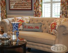 CR Laine items featured in Sorority House Makeover by Nell Hills. Custom Cushions, Printed Cushions, Sorority House Decor, Sorority Houses, College Sorority, Sorority Life, Room Arrangement Ideas, Delta House, Tufted Sofa