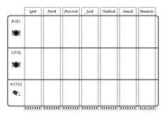 Tableau de planification des repas de la semaine à imprimer en noir et blanc.