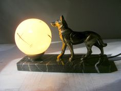 French Antique Art Deco Dog Table Lamp,Bedside Lamp., German shepherd. by GrisSourisBrocante on Etsy https://www.etsy.com/listing/483129203/french-antique-art-deco-dog-table