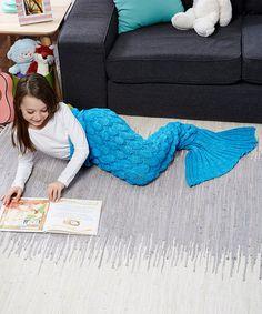 Look at this #zulilyfind! Bright Blue & White Scaled Mermaid Tail Blanket - Kids #zulilyfinds