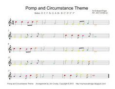 Pomp & Circumstance for Boomwhackers. Free : )  Like this for teaching syncopation and altered notes