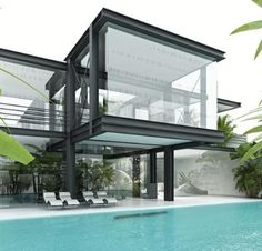 Amazing and Inspiring Modern Architecture. The style of modern architecture is a style of static architecture that developed in pre-industrial times as a form of revolution from traditional arc. Architecture Design, Beautiful Architecture, Residential Architecture, Contemporary Architecture, Building Design, Exterior Design, Modern Design, Glass Houses, Glass House Design
