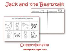 Free Jack and the Beanstalk character/comprehension printable via www.pre-kpages.com/jack/